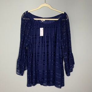 Avenue Lace Bell Sleeve Top Navy Blue